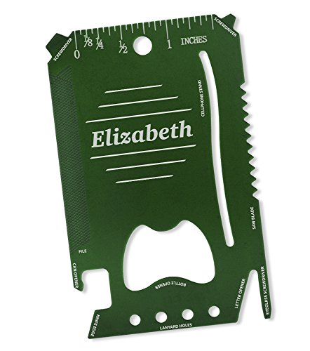 (Dimension 9 Elizabeth - Laser Engraved, Anodized Metal Personalized Wallet Tool)