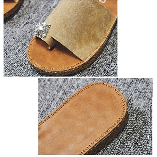 Xy® Sandwich 5 Chaussures Usure Kaki EU38 Plat Flop Plage Sandales Kaki Couleur Femme Sandales Toe Mode Extérieur Bottom CN38 Flip UK5 Eté Taille FXFSrx