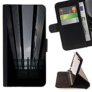 For Samsung Galaxy S4 Mini i9190 Black Grey Night City Architecture Style PU Leather Case Wallet Flip Stand Flap Closure Cover