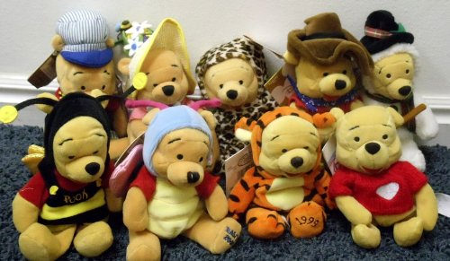 """- Disney Winnie the Pooh 8"""" Plush Bean Bag Set of 9 Dolls Including Frosty the Snowman Pooh Bear, Choo Choo Train Conductor Pooh, Pooh Bear Dressed as Tigger, Winnie the Pooh as a Bumble Bee, Butterfly Pooh Bear, Pooh as a Leopard, Valentine Pooh in Heart Sweater, Western Cowboy Pooh and Easter Bonnet Pooh Bear Dolls"""