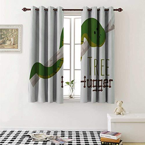 (shenglv Reptile Customized Curtains Cute Cartoon Snake Hanging from Tree Hug Love Mascot Humor Comic Design Print Curtains for Kitchen Windows W63 x L45 Inch Green Navy Ecru)