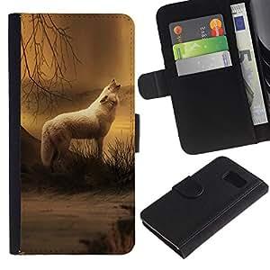 Samsung Galaxy S6 / SM-G920 , la tarjeta de Crédito Slots PU Funda de cuero Monedero caso cubierta de piel ( White Wolf Forest Night Mist Fog Nature Art)