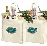 Reusable University of Florida Shopping Bags or Florida Gators Grocery Bag 2Pc SET NATURAL COTTON