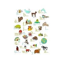 French Alphabet Nature Themed Wall Art Print, 08x10 Inch Print, Nursery Decor, Woodland Nursery, Forest Animals, Kid's Room, Animal ABC Poster, Baby Room