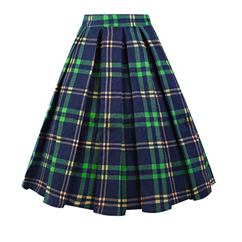 (Girstunm Women's Pleated Vintage Skirt Floral Print A-line Midi Skirts with Pockets Green-Plaid)