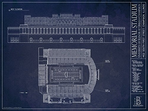 Memorial Stadium - University of Illinois at Urbana-Champaign - Blueprint Style Print (Unframed, 18