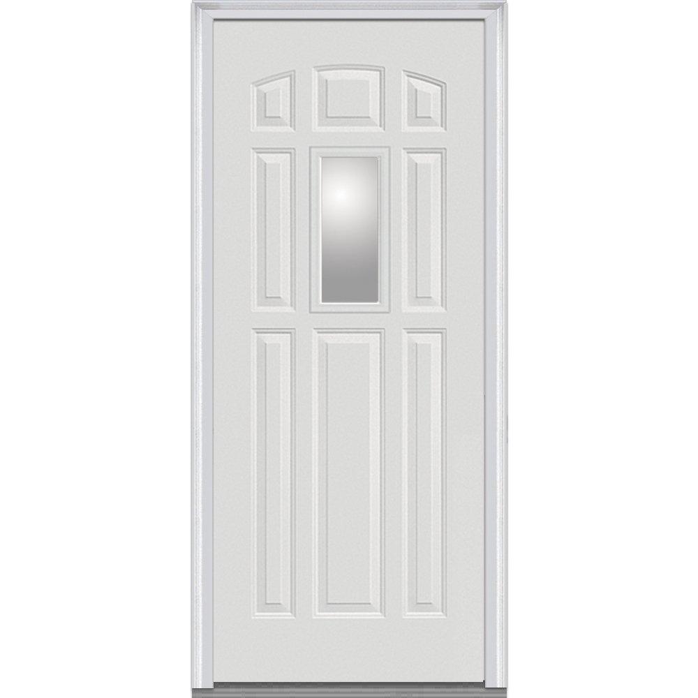 National Door Company Z000558L Fiberglass Smooth Primed, Left Hand In-swing, Prehung Front Door, Center Lite 8-Panel, Clear Glass, 36'' x 80'' by National Door Company