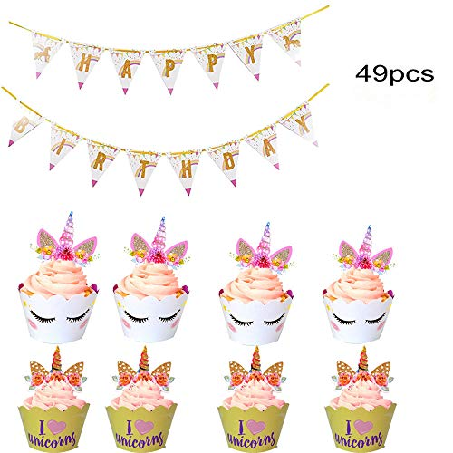 Unicorn Cupcake Toppers and Wrappers with Banners Garland.Unicorn Party Cake Decoration for baby shower,wedding and birthday party(Total 49pcs)