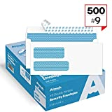 500 #9 Double Window SELF SEAL Security Envelopes - for Invoices, Statements & Documents, Security Tinted - Size 3-7/8 x 8-7/8 - 24 LB - 500 Count (30139)