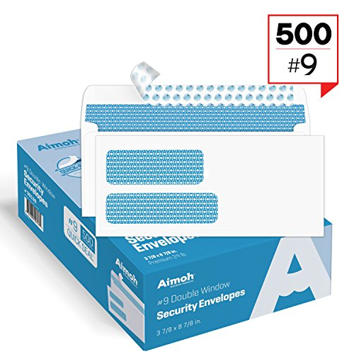 Seal Double Window Envelope - 500#9 Double Window SELF Seal Security Envelopes - for Invoices, Statements & Documents, Security Tinted - Size 3-7/8 x 8-7/8-24 LB - 500 Count (30139)