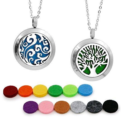 "2PCS Aromatherapy Essential Oil Diffuser Pendant Necklace, Hypoallegenic Stainless Steel Locket with 23"" Chain 12 Refill Pads"