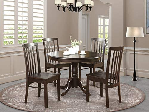 HART5-CAP-W 5 Pc small Kitchen Table and Chairs set-Table Round Table and 4 dinette Chairs