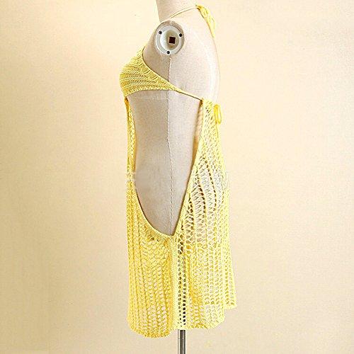 hibote Mujer de encaje de ganchillo mini vestido de cubrir la parte superior del chaleco bralet Amarillo