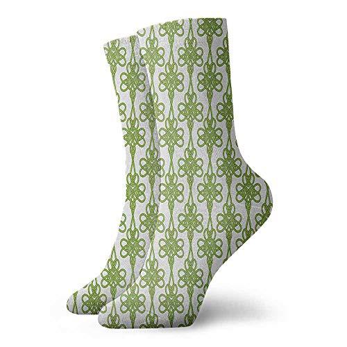 Pressure socks Entangled Clover Leaves Twigs Celtic Pattern Botanical Filigree Inspired Retro Tile Sports, travel