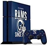 Skinit NFL Los Angeles Rams PS4 Console and Controller Bundle Skin - Los Angeles Rams Helmet Design - Ultra Thin, Lightweight Vinyl Decal Protection