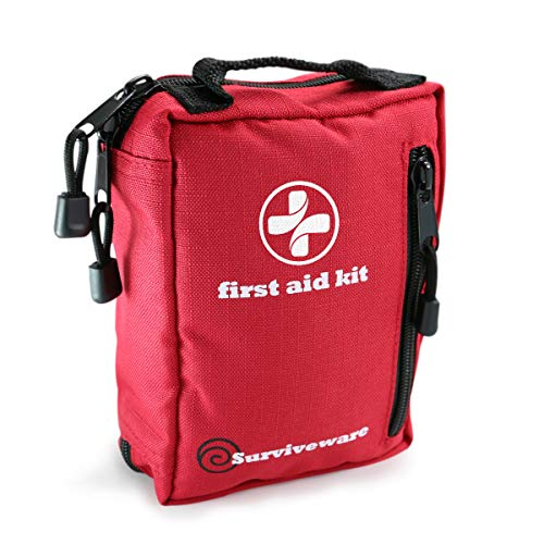 Surviveware Small First Aid Kit for Hiking, Backpacking, Camping, Travel, Car & Cycling. Be Prepared For Survival, Outdoor Adventures or at Home & Work (Best Car Seat Travel Bag 2019)