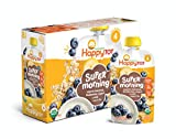 Happy Tot Organic Stage 4 Super Morning Organic Bananas Blueberries Yogurt & Oats + Super Chia, 4 Ounce Pouch (Pack of 8) Baby/Toddler Food Breakfast Pouch, Toddler Breakfast, Yogurt Fruit & Oats