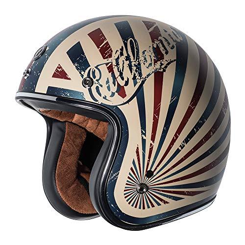 TORC T50 Route 66 Dreamer Open Face Helmet (Flat White, Medium)