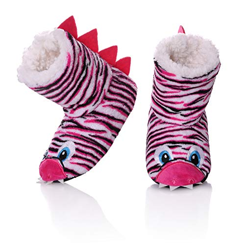 FANZERO Kids Girls Boys Slippers Cute Cartoon Animal Soft Warm Plush Lining Non-Slip House Shoes Winter Indoor Boot Socks 10.5-12 Little Kid,Rose Red (Slipper Booties For Girls)