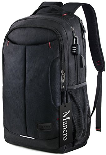 Mancro Laptop Travel Backpack, Anti-theft Water Resistant College Bag with