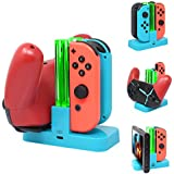 FastSnail Controller Charger for Nintendo Switch, Charging Dock Stand Station for Switch Joy-con and Pro Controller with Charging Indicator Blue