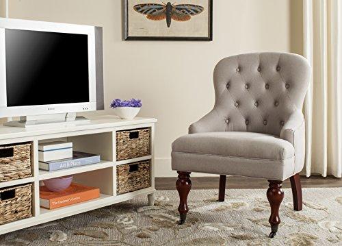 Safavieh Mercer Collection Robert Light Brown Linen Club - Club Chair Casters