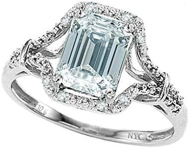 Star K 10kt White Gold 8x6mm Emerald Cut Promise Ring