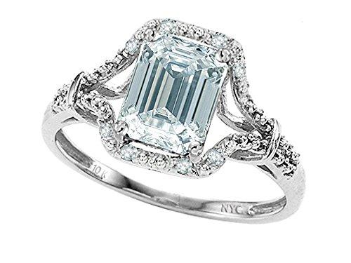 Star K 8x6mm Emerald Cut Genuine Aquamarine Ring 10k Size 9 by Star K
