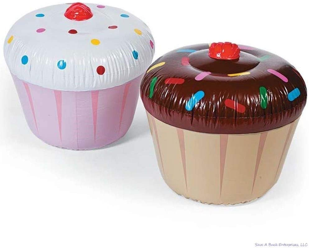2 GIANT INFLATABLE CUPCAKE DESSERTS Blow Up Pool Birthday Party Fun Floats