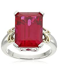 Sterling Silver and 14k Yellow Gold Emerald-Cut Created Ruby Ring