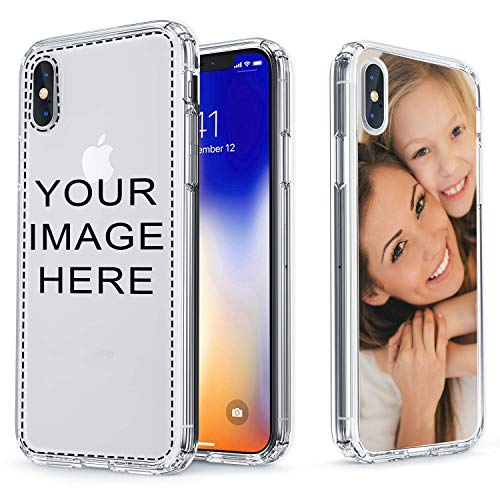 True Color Case Compatible with iPhone X, iPhone Xs Phone Create Your Own Customized Picture Personalized Custom Photo or Design Printed in HD on Clear Back - Shock Absorbing Protective Bumper Cover (Best Friend Iphone Cases)