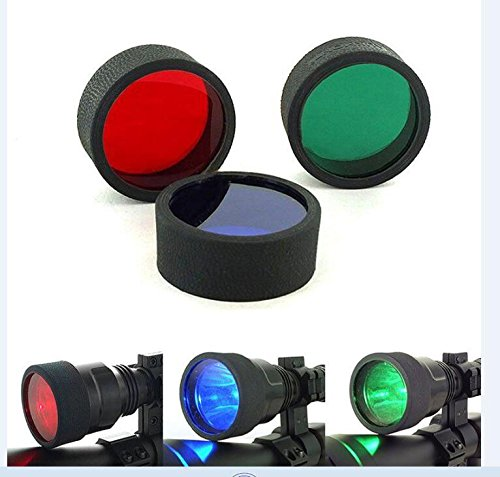 Gazelle Trading 3 Red Blue Green Beam C8 45mm Tactical Flashlight Torch Filter For Rifle - Light Green Lenses