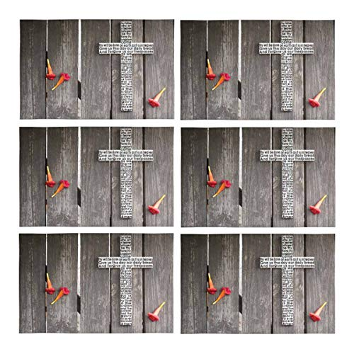 Plate Lords Prayer (InterestPrint Wooden Cross with The Lord's Prayer On Shabby Wooden Plank Washable Polyester Fabric Placemat Plate Mat Holder Set of 6, Heat Insulation Resistant Table Mats Protector 12