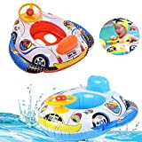 JYOHEY Baby Pool Floats Childrens Swimming ring Inflatable Seat Boat Float Car shape With Steering Wheel for kids