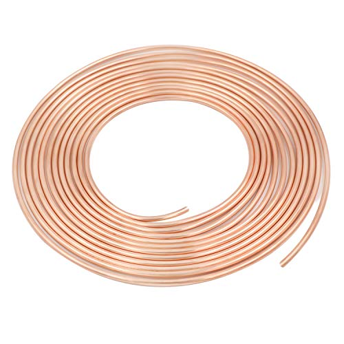 - 25 Ft. of 3/16 in Copper-Nickel Coil Brake Line Flexible, Easy to Bend Replacement Tubing Kit (Includes 16 Fittings) -Inverted Flare, SAE Thread
