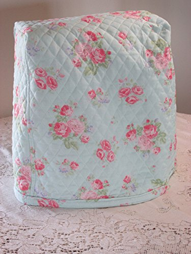 KitchenAid Mixer Cover - Shabby Chic Aqua & Pink Floral Design with Paisley Reverse - Reversible Quilted Kitchen Appliance Dust Cover - Size and Pocket Options