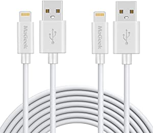 MaGeek Lightning to USB Cable, [Apple MFi Certified] [2-Pack, 10ft] Extra Long iPhone Charger Lightning Cable Charge Cord for iPhone 12/11/Pro/SE/XS/XS Max/XR/X/8 Plus/7/6S Plus,iPad Pro Air (White)