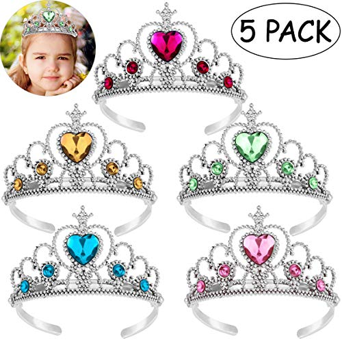 Princess Tiara Crown Set,Girls Dress up Party Accessories,5pcs -