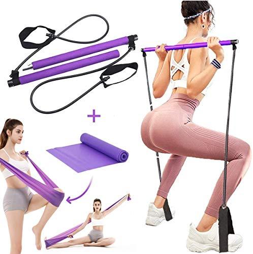GLBLAUCK Portable Pilates Bar Kit with Resistance Band and Free Strength Bands, Yoga Pilates Bar Kit Exercise Pilates…