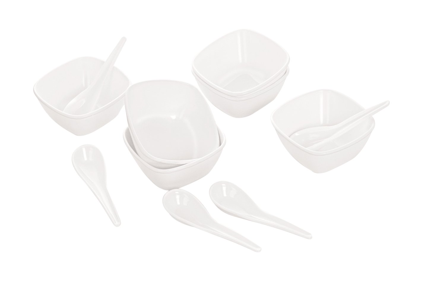 Cello Ware Square Soup Set, 12-Pieces, White