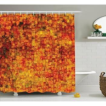 burnt orange shower curtain by ambesonne vintage mosaic background quadratic little geometric squares faded print - Burnt Orange Bath Set