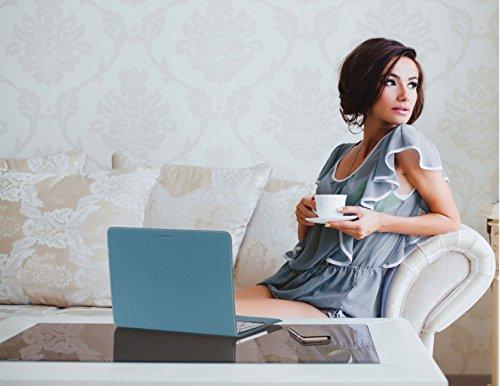 ZENDO MacBook 12'' Leather Cover (Full-Grain Shrunken Calf Leather) | PRIMO Luxury Full-Grain Leather [SIZE: MacBook 12'' | AQUABLUE] by Zendo (Image #5)