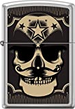 Zippo Military Skull With Mustache And Stars Satin Chrome WindProof Lighter NEW