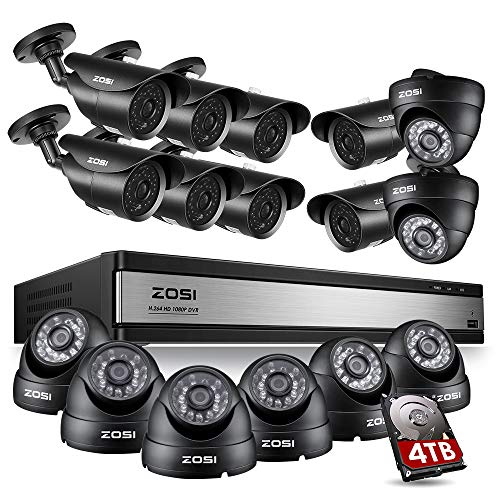 ZOSI 16Channel 1080P Security Surveillance System 16CH 2.0MP CCTV DVR Recroder with 4TB Hard Drive and 16pcs 1080P HD Outdoor Indoor Weatherproof Cameras for Outdoor Indoor Office Home Security