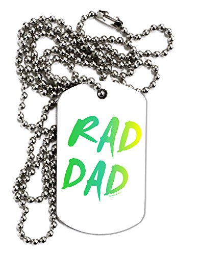 TooLoud Rad Dad Design - 80s Neon Adult Dog Tag Chain Necklace (80s Neon Fashion)