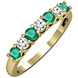 14K Yellow Gold Round Emerald & White Diamond Ladies 7 Stone Wedding Band Ring (Size 8)