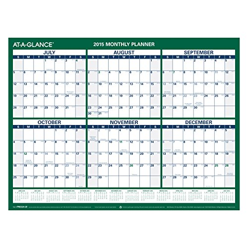 AT A GLANCE Mini Erasable Monthly Wall Calendar