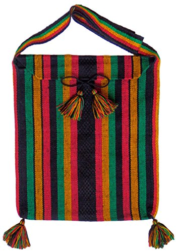 Handmade Mexican Messenger Bag - Reggae Rasta Clothing - Boho Hobo Shoulder Book Bag - Crossbody Hippie Purse - Bohemian ()