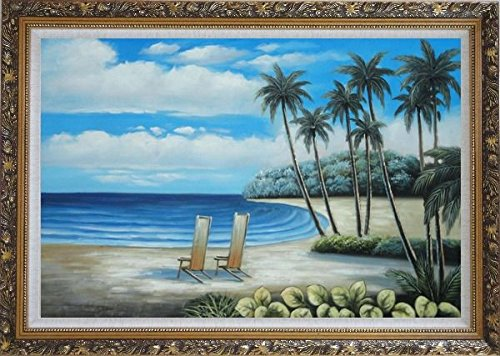 Framed Oil Painting 24''x36'' Palm Trees Two Chairs Hawaii White Sand Beach Blue White Sky Seascape America Naturalism Ornate Frame by BeyondDream