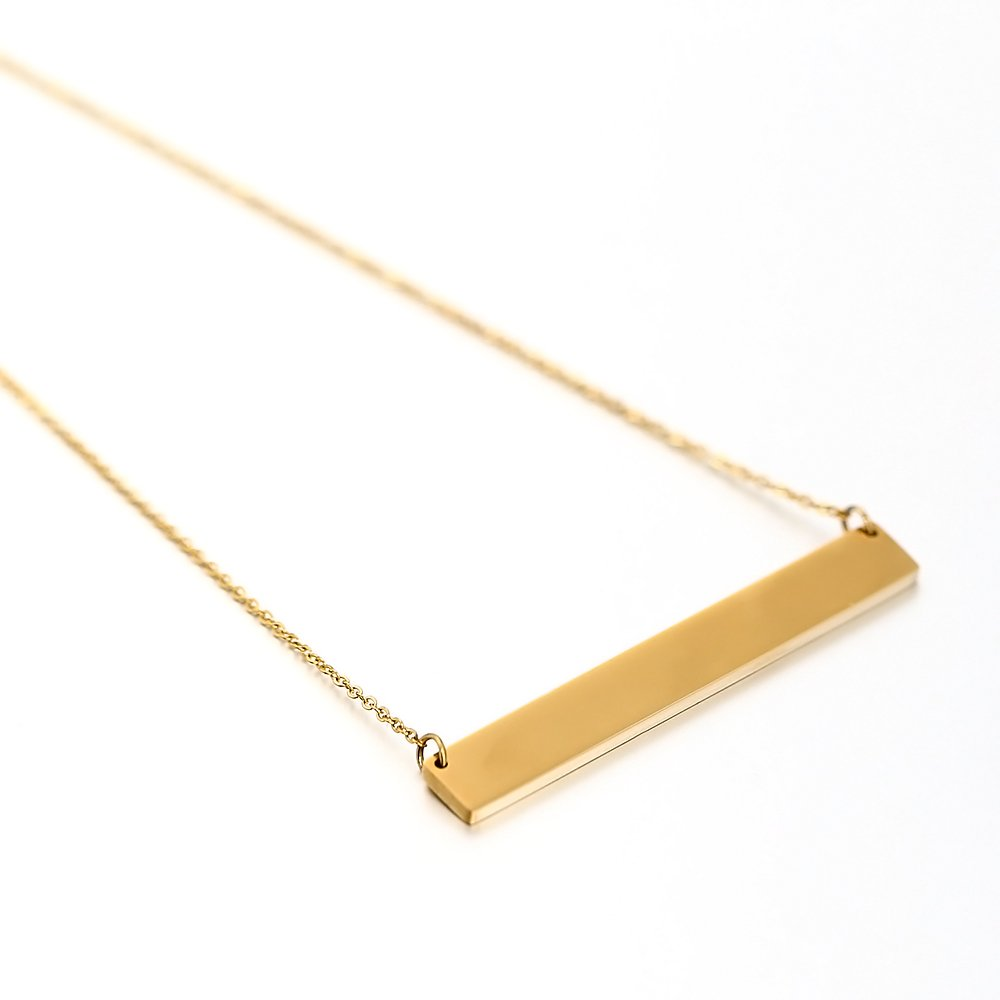 Lazycat Stainless Steel 18K Plated Bar Necklace with Engravable Bar Pendant (Gold) by Lazycat (Image #9)